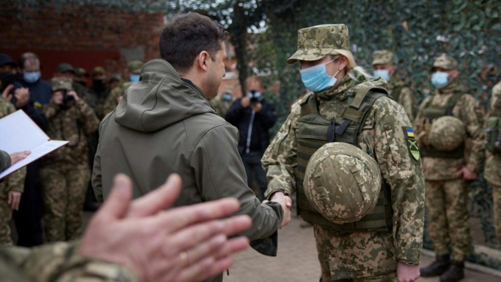 Ukraine President Zelensky visits frontline in Donbas