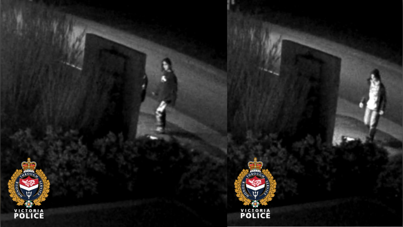 The centre's staff moved quickly to remove the messages and review surveillance video, police said, adding that two suspects were caught on camera tagging the centre. (Victoria Police Department)