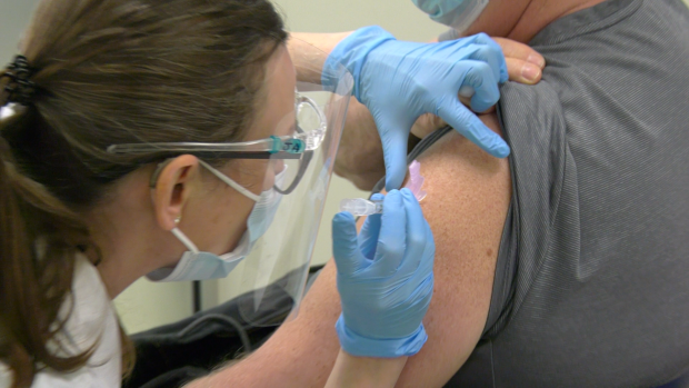 A COVID-19 vaccine is administered in Manitoba. (CTV News Photo Glenn Pismenny)