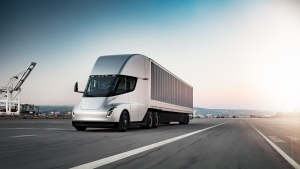 A fully electric Tesla semi-truck is shown: (Courtesy of Tesla, Inc.)