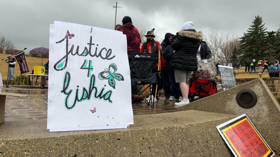 On April 8, 2021, around 300 people gathered at a vigil for 16-year-old Eishia Hudson who was shot and killed by a Winnipeg police officer one year ago. (Source: Danton Unger/ CTV News Winnipeg)