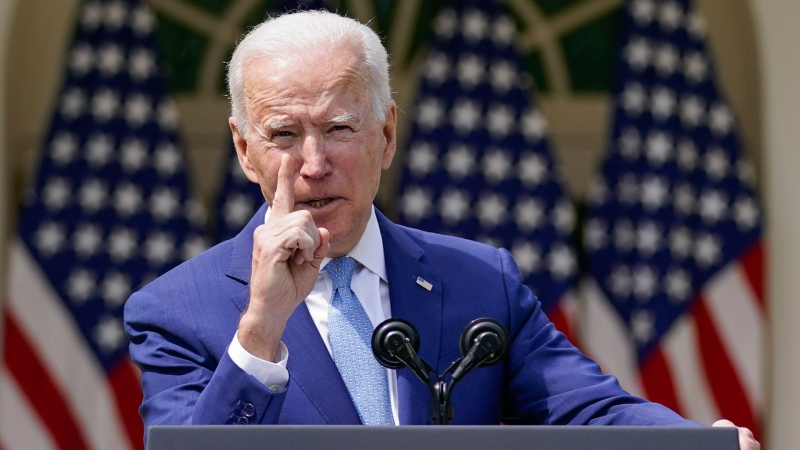 U.S. President Joe Biden speaks about gun violence prevention in the Rose Garden at the White House, Thursday, April 8, 2021, in Washington. (AP / Andrew Harnik)