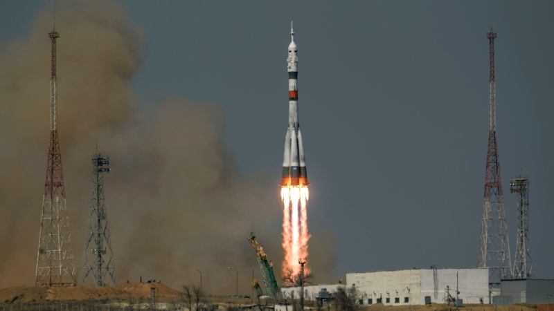 In this image provided by NASA, the Soyuz MS-18 rocket is launched with NASA astronaut Mark Vande Hei, Roscosmos cosmonauts Pyotr Dubrov and Oleg Novitskiy, Friday, April 9, 2021, at the Baikonur Cosmodrome in Kazakhstan. (Bill Ingalls/NASA via AP)