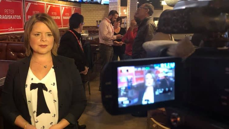 CTV News reporter Celine Zadorsky on election night. (Supplied)