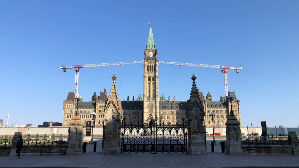 The Peace Tower is shown on Parliament Hill, with the flag at half mast to mark the death of Prince Philip on Friday, April 9, 2021. (CTV News / Barry Acton)