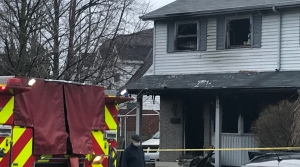 Officials say a fire at a semi-detached residence in Cambridge left two people with minor injuries. (Chris Thomson/CTV Kitchener) (Apr. 9, 2021)