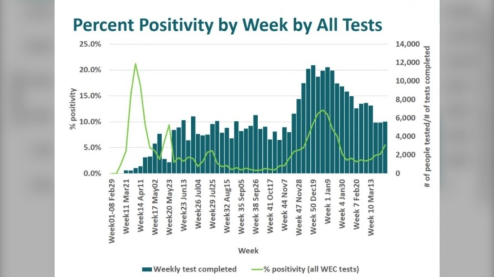 Per cent positivity by week by all tests in Windsor-Essex. (Courtesy WECHU)