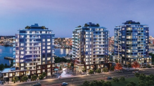 A rendering of the Dockside Green development in Vic West is shown: (Bosa Development)