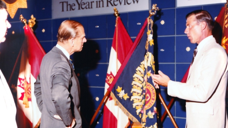 Prince Philip during the 1983 Visit to open Regimental Museum and 100th anniversary of The RCR celebrations. (Courtesy The RCR Museum)