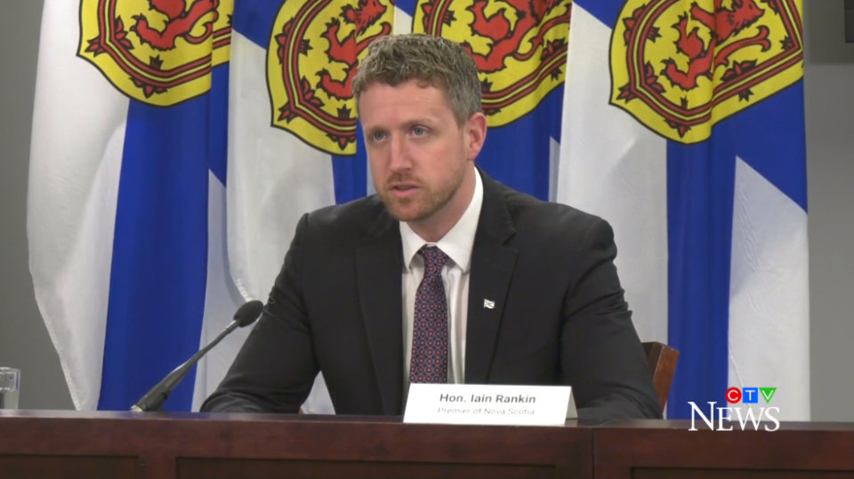Nova Scotia Premier Iain Rankin speaks at a COVID-19 media briefing in Halifax on April 9, 2021.