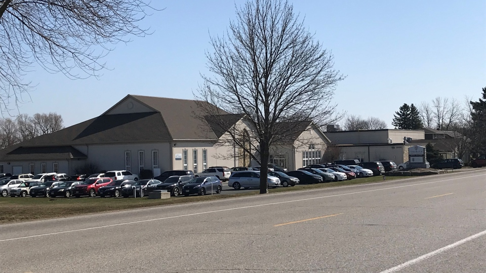 The parking lot of Trinity Bible Chapel on Sunday, Apr. 4. (Johnny Mazza/CTV Kitchener)
