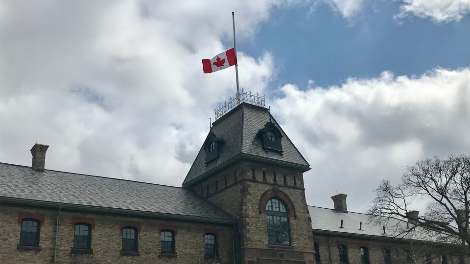 The flag atop Wolseley Barracks in lowered to half mast in honour of the Late Prince Philip on Friday, April 9, 2021. (Sean Irvine / CTV London)
