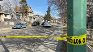 Police blocked off part of the 1500 block of Cameron St. on Thursday after a man was found dead Wednesday night. (Gareth Dillistone/CTV Regina)