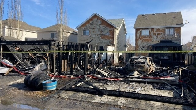 Firefighters were called shortly before 5 a.m. on April 9, 2021, and arrived on scene at Stanton Drive and 60 Street to find two detached garages ablaze. Officials on scene said the fire destroyed two homes and garages, and affected eight buildings in total.