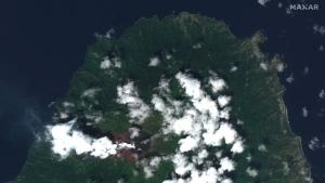 La Soufriere volcano on the Caribbean island of St. Vincent, on April 8, 2021. (Satellite image ©2021 Maxar Technologies via AP)