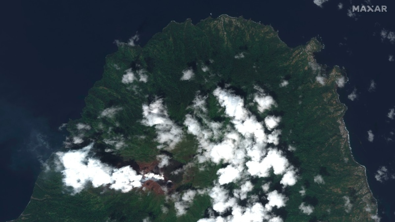 La Soufriere volcano on the Caribbean island of St. Vincent, on April 8, 2021. (Satellite image ©2021 Maxar Technologies via AP)