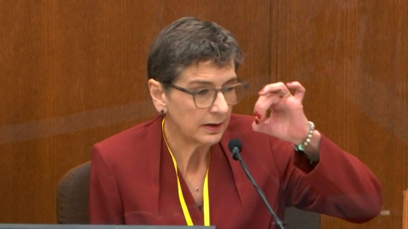 Dr. Lindsey Thomas, a forensic pathologist, now retired, testifies in the trial of former Minneapolis police officer Derek Chauvin, on  April 9, 2021. (Court TV via AP, Pool)