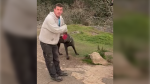 Saanich police are looking to identify this man after his dog allegedly bit another dog and its owner: (Saanich Police)