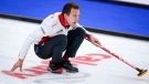 Team Canada skip Brendan Bottcher directs his teammates against Germany at the Men's World Curling Championships in Calgary, Alta., Friday, April 9, 2021.THE CANADIAN PRESS/Jeff McIntosh