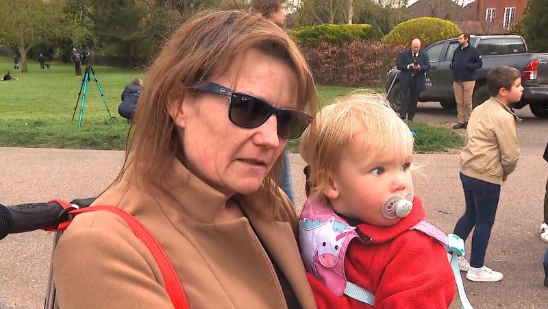 Mourner cries outside Windsor Castle