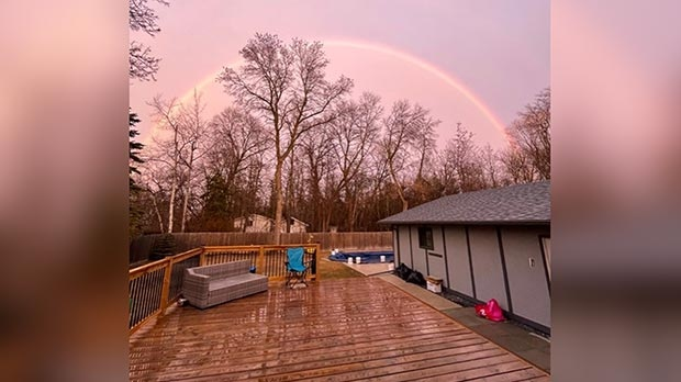 Rainbow over Winnipeg Beach. Photo by Vanessa Stratton.