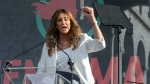 In this Jan. 18, 2020, file photo Caitlyn Jenner speaks at the 4th Women's March in Los Angeles. Jenner has been an Olympic hero, a reality TV personality and a transgender rights activist. Jenner has been consulting privately with Republican advisers as she considers joining the field of candidates seeking to replace Democratic Gov. Gavin Newsom in a likely recall election later this year. (AP Photo/Damian Dovarganes, File)