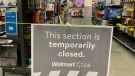 Walmart non-essential sections are closed in Amherstburg, Ont., on April 9, 2021. (Rich Garton / CTV Windsor)