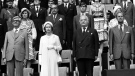 Royalty and Dignitaries stand for the entrance of Olympic athletes during opening ceremonies at the Montreal Olympics, July 17, 1976. IOC chairman Lord Killanin stands between Queen Elizabeth II and her husband, Prince Philip. (CP PHOTO/Hayes)