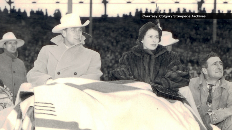 Prince Philip and Princess Elizabeth attend a special Calgary Stampede program on October 18, 1951. (Courtesy: Calgary Stampede Archives)