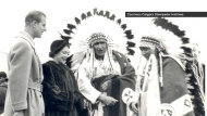 Prince Philip and Queen Elizabeth II meet First nations members at the Calgary Stampede in 1959 (Calgary Stampede Archives)