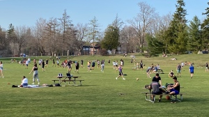 People gather in Waterloo Park on April 8, 2021 (Terry Kelly / CTV News Kitchener)