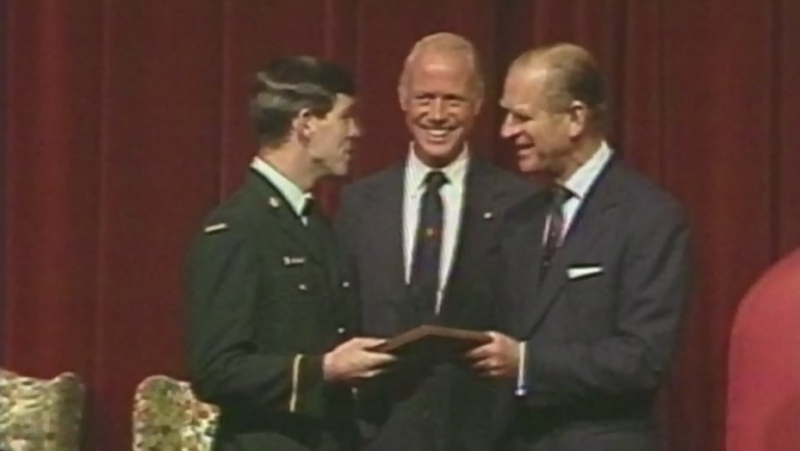 Prince Philip presents award at Sudbury Theatre Centre in 1984. (CTV Northern Ontario)