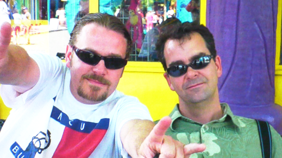 Rob White, left, pictured with Chris Barrett on a joint vacation the families took together. Of White, Barrett said,