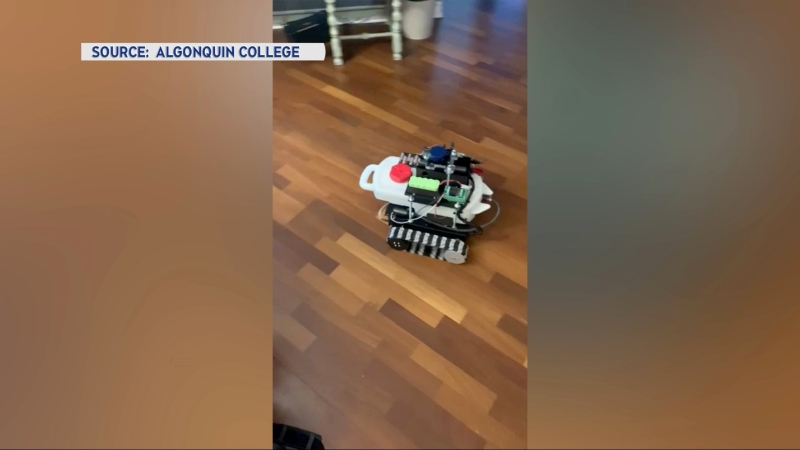Algonquin College students have designed this self-driving robot that could de-ice a driveway or fertilize the lawn. (Photo courtesy: Algonquin College / Krush Rahman)