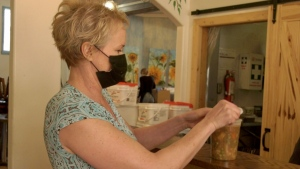 Tisha Paget is donating profits from her soup to Prairie Harm Reduction. (Laura Woodward/CTV Saskatoon)
