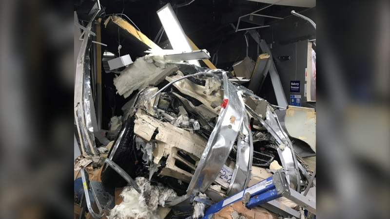 Crews rescue trapped workers from Vancouver Island shopping centre after crash through building