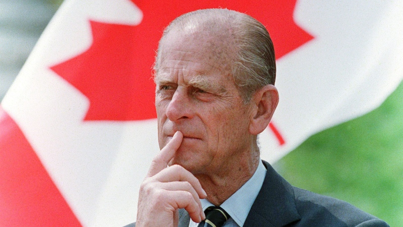Prince Philip, Duke of Edinburgh, listens to a speech while visiting the University of Sherbrooke in Sherbrooke, Que., on May 20, 1989. THE CANADIAN PRESS/Jacques Boissinot