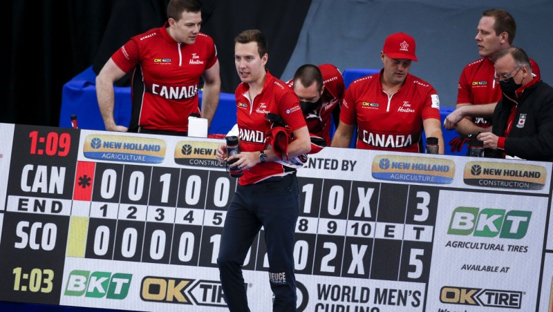 Team Canada skip Brendan Bottcher, centre, leaves the ice after being defeated by Scotland in the qualification round at the Men's World Curling Championships in Calgary, Alta., Friday, April 9, 2021.THE CANADIAN PRESS/Jeff McIntosh