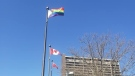 Progressive Pride Flag raised at Charles Clark Square to mark Run for Rocky Day in Windsor, Ont. on Friday, April 9, 2021. (courtesy Run for Rocky Legacy Project)