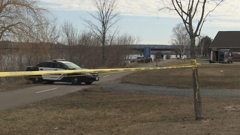Police have taped off a nearby walking trail due to the search. (Photo: CTV News/Laura Brown)