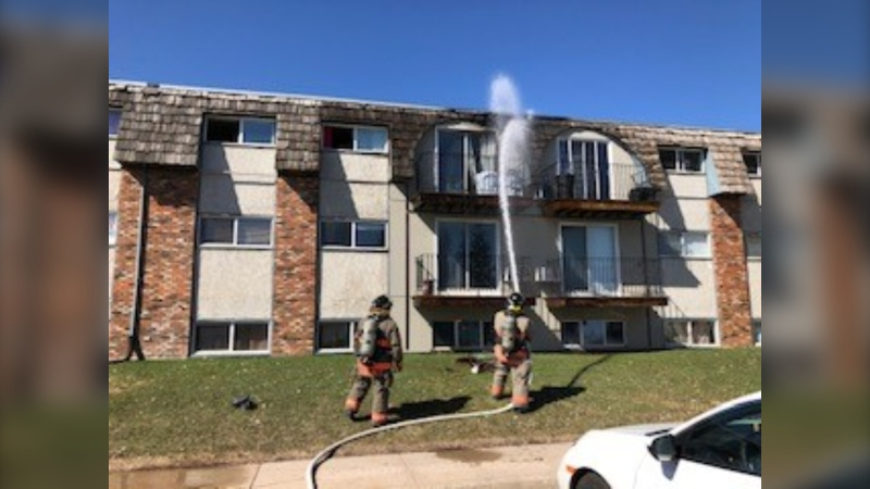 Fire crews began to put out the fire from the ground to stop it from spreading. (Saskatoon Fire Department)