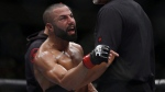 FILE - John (The Bull) Makdessi yells at Abel Trujillo after their preliminary lightweight bout at the UFC Fight Night - Lawler vs Dos Anjos event in Winnipeg on Saturday, December 16, 2017. THE CANADIAN PRESS/John Woods