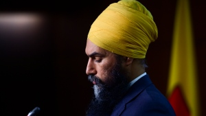 NDP Leader Jagmeet Singh holds a press conference in Ottawa on Wednesday, March 24, 2021. THE CANADIAN PRESS/Sean Kilpatrick