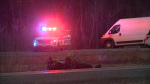 Ottawa police are investigating a crash involving a motorcycle and a vehicle on Prince of Wales Drive Saturday evening.  (Aaron Reid/CTV News Ottawa)