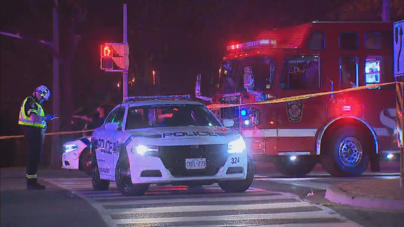 Police are investigating a two-vehicle crash in Brampton that left a man dead and three others injured.