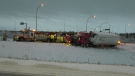 A semi truck came off the road near 184 Street and Yellowhead Trail. Saturday April 10, 2021 (CTV News Edmonton)