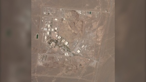 This satellite photo from Planet Labs Inc. shows Iran's Natanz nuclear facility on Wednesday, April 7, 2021. Iran's Natanz nuclear site suffered a problem Sunday, April 11, involving its electrical distribution grid just hours after starting up new advanced centrifuges that more quickly enrich uranium, state TV reported. It was the latest incident to strike one of Tehran's most-secured sites amid negotiations over the tattered atomic accord with world powers. (Planet Labs Inc. via AP)