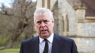 Britain's Prince Andrew during a television interview at the Royal Chapel of All Saints at Royal Lodge, Windsor, in England, Sunday, April 11, 2021. (Steve Parsons/Pool Photo via AP)