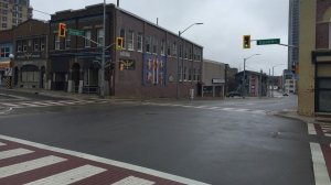 The intersection of Charles Street and Queen Street in Downtown Kitchener. (Johnny Mazza/CTV Kitchener) (Apr. 11, 2021)