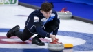 Scotland skip Bruce Mouat makes a shot against Norway at the Men's World Curling Championships in Calgary, Alta., Friday, April 9, 2021.THE CANADIAN PRESS/Jeff McIntosh